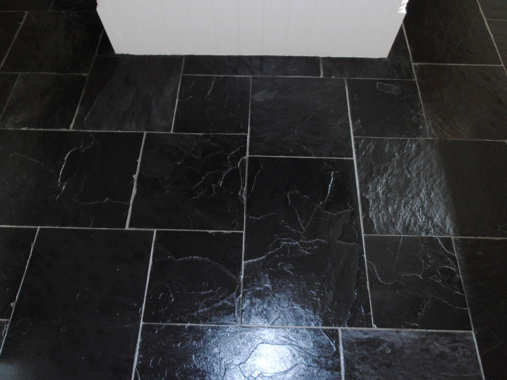 Black slate tiles kent tiledoctor black slate after cleaning and sealing dailygadgetfo Gallery