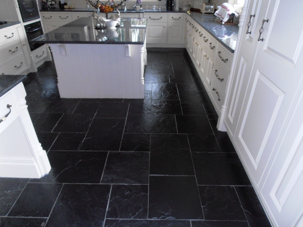 Tired black slate tiled floor in sevenoaks restored kent for Black floor tiles for kitchen