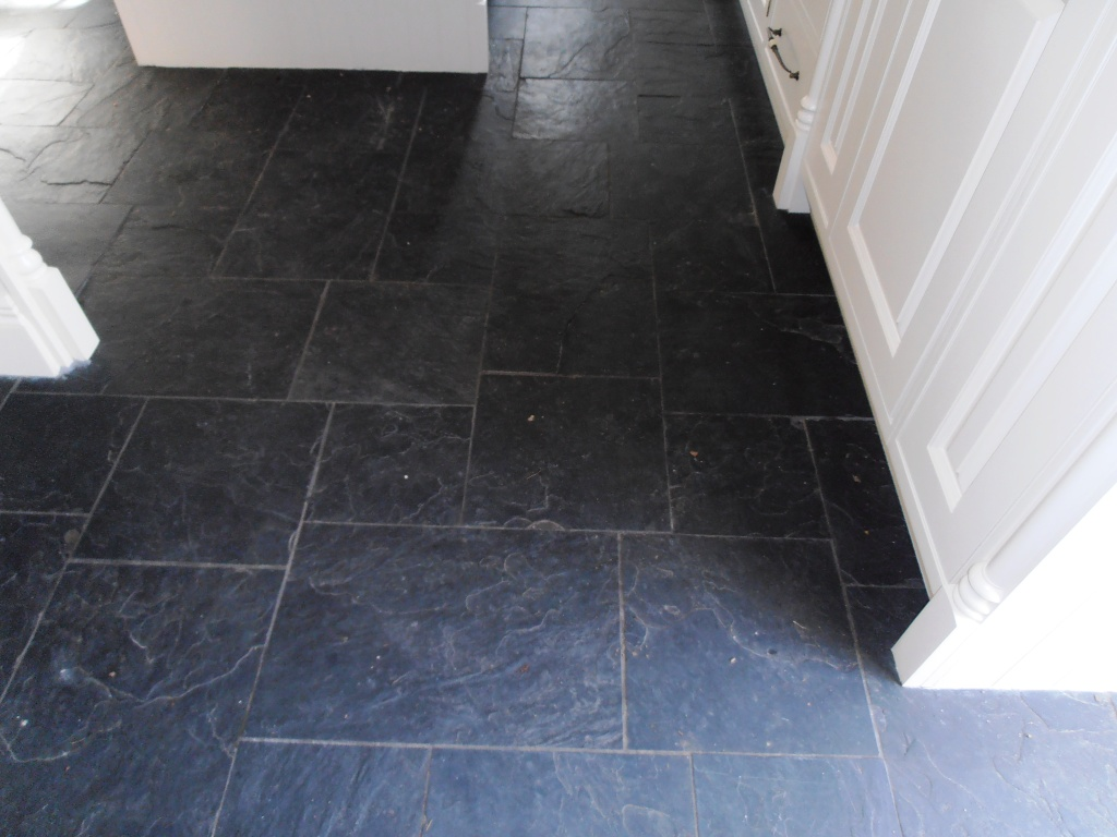 Black slate tiles kent tiledoctor black slate before cleaning and sealing dailygadgetfo Gallery