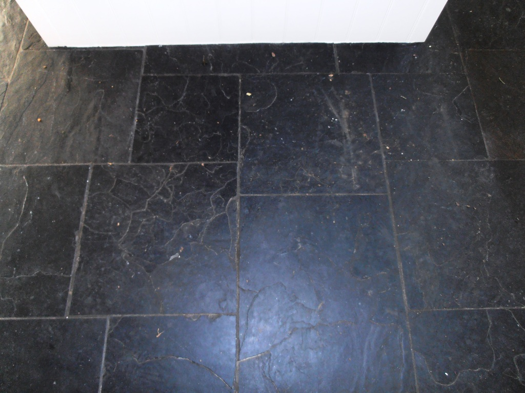 Tired Black Slate Tiled Floor In Sevenoaks Restored Kent Tiledoctor
