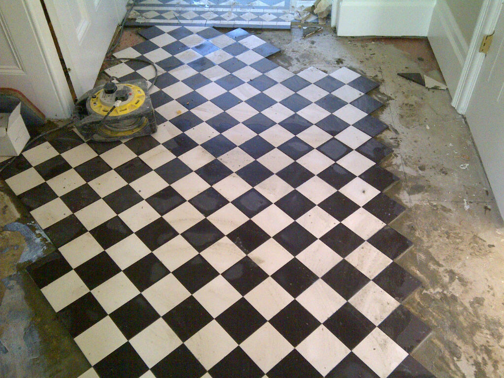 Geometric Victorian Floor Restoration Bromley During Tiling