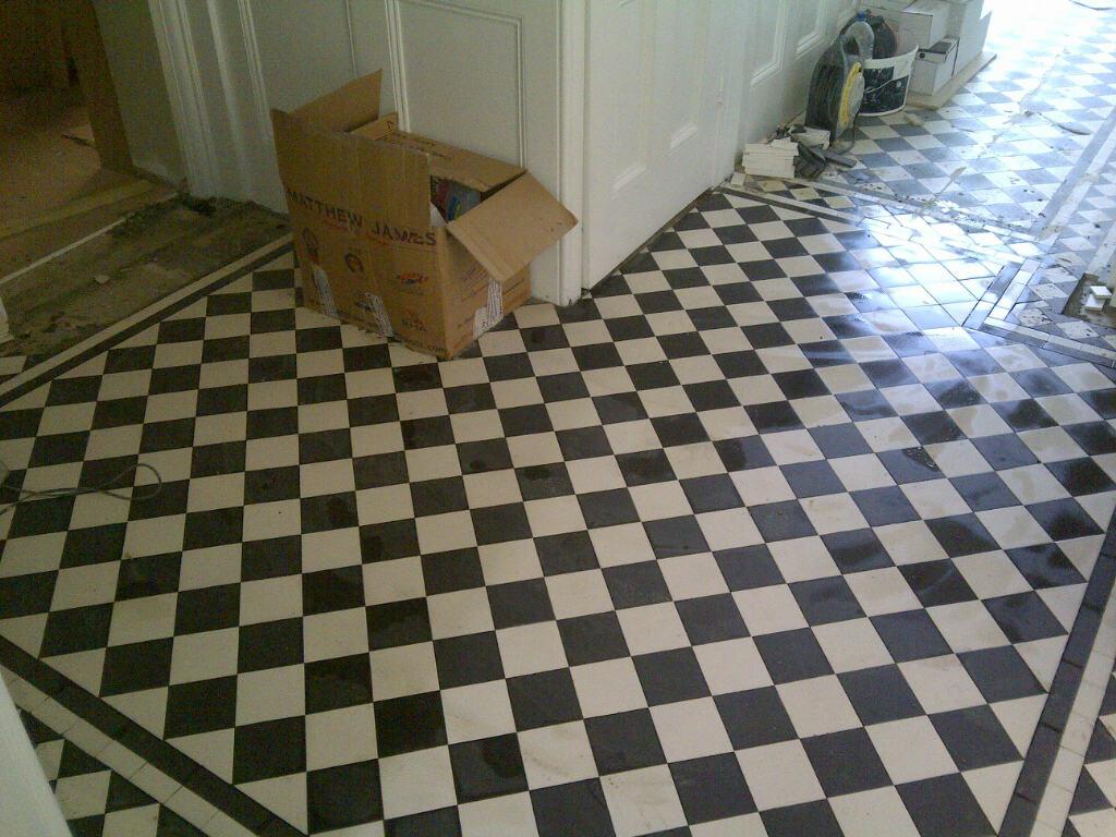 Geometric Victorian Floor Restoration Bromley During Tiling