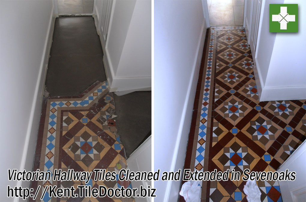 Victorian floor tiles before and after extension in Sevenoaks