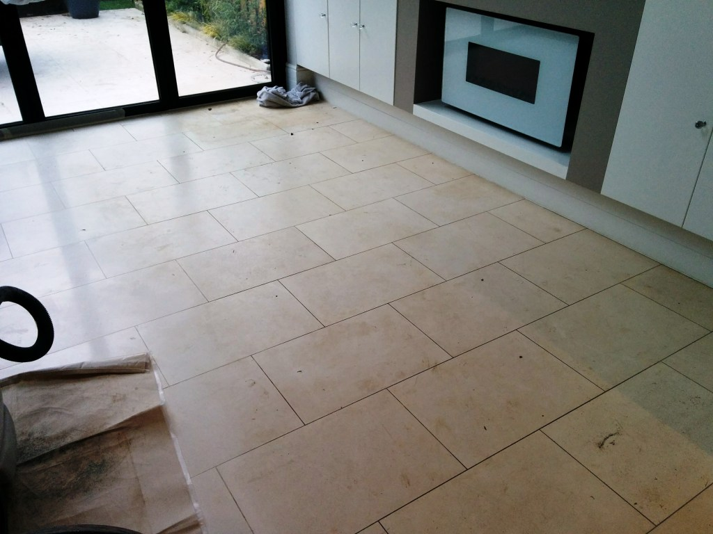 Limestone Tiled Floor Before Cleaning Beckenham