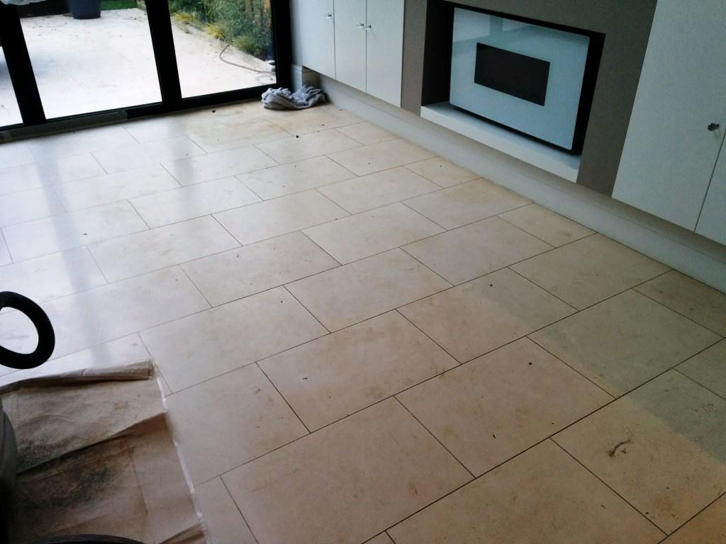 Limestone Tiled Floor Before Cleaning Beckenham