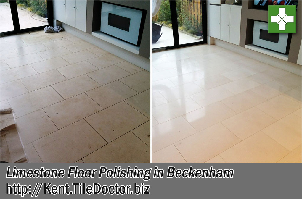 Limestone Tiled Floor Before and After Polishing Beckenham