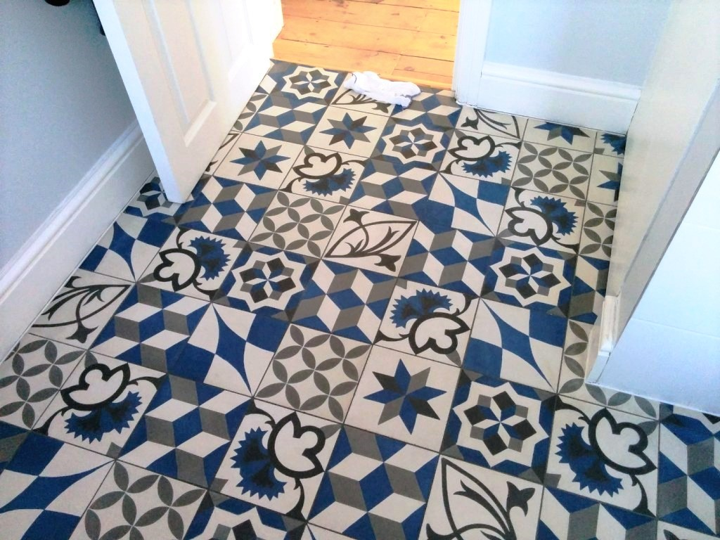 Concrete Encaustic Bathroom Floor Tiles After Cleaning Sydenham