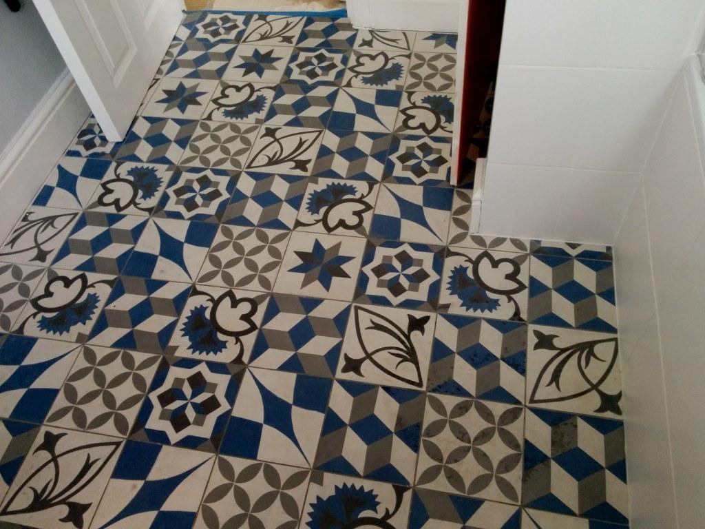 Concrete Encaustic Bathroom Floor Tiles Before Cleaning Sydenham
