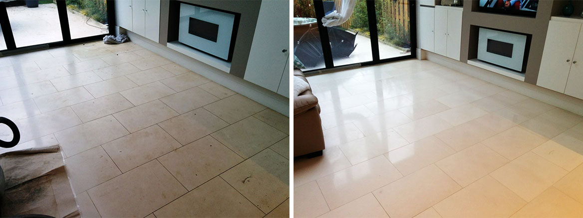 Limestone Tiled Floor Before and After Cleaning Beckenham