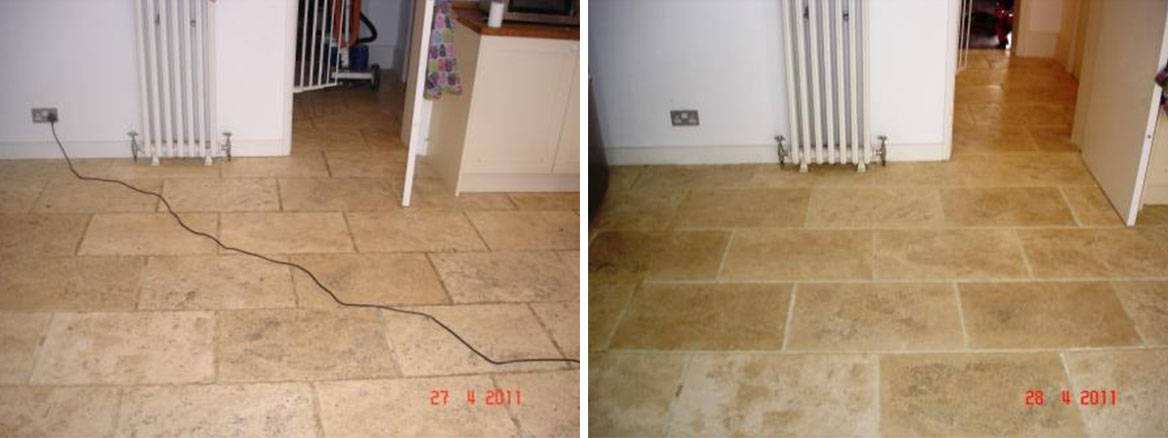 Travertine Before and After Cleaining and Sealing