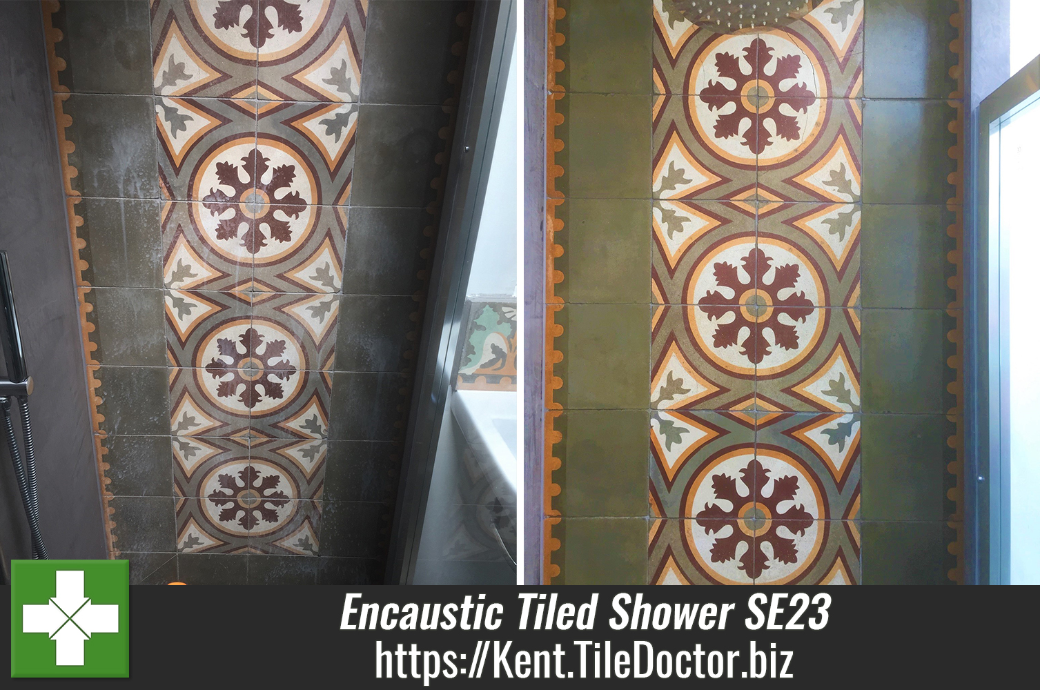 Stained Encaustic Shower Tiles Renovated in Forest Hill SE23