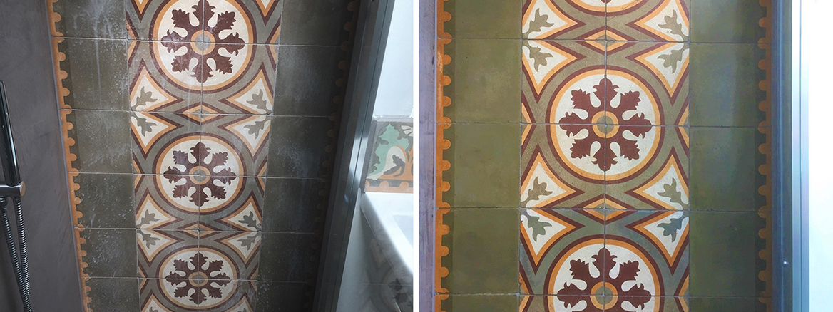 Stained Encaustic Shower Tiles Renovated in Forest Hill